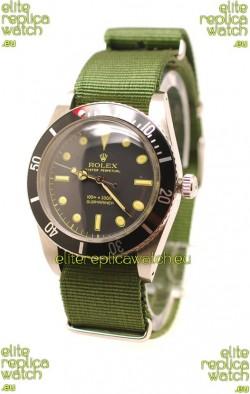 Rolex Submariner Swiss Watch in Green Nylon Strap