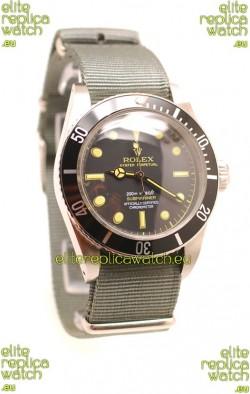 Rolex Submariner Swiss Watch Grey Nylon Strap Watch