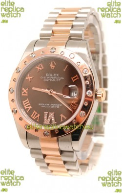 Rolex DateJust Mid-Sized Swiss Replica Rose Gold Watch
