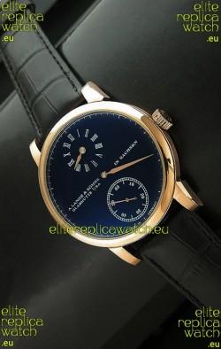 A. Lange & Sohne Cortes de Geneve Decorative Bridges Classic Replica Rose Gold Watch in Black Dial