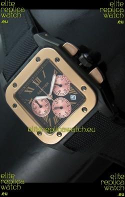 Cartier Santos Japanese Replica Watch in Black Dial