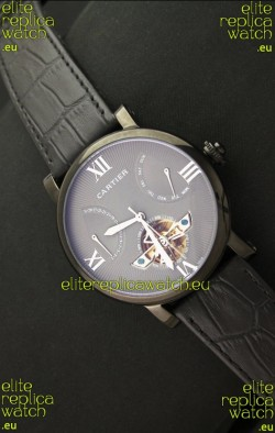 Cartier Calibre de Tourbillon PVD Swiss Watch in Grey Dial