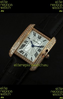 Cartier Louis Japanese Replica Ladies Rose Gold Diamond Watch in Black Strap