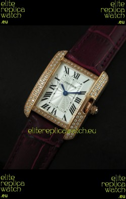 Cartier Louis Japanese Replica Ladies Rose Gold Diamond Watch in Purple Strap