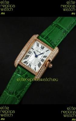 Cartier Louis Japanese Replica Ladies Rose Gold Diamond Watch in Green Strap