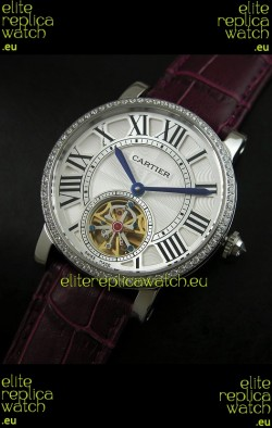 Cartier Ronde de Tourbillon Japanese Replica Watch in Diamond Bezel