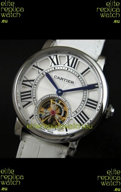 Cartier Ronde de Tourbillon Japanese Replica Watch in White Strap