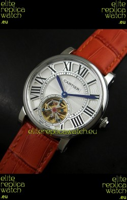 Cartier Ronde de Tourbillon Japanese Replica Watch in Brown Strap