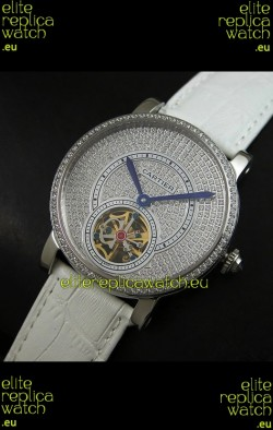 Cartier Ronde de Tourbillon Japanese Replica Diamond Watch in White Strap