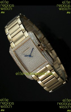 Cartier Tank Anglaise Ladies Replica Watch in Yellow Gold Case/Strap