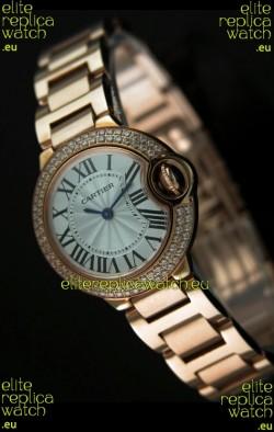 Ballon De Cartier Ladies Replica Watch in Pink Gold