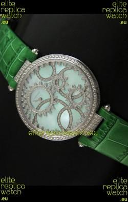 Cartier Replica Watch with Diamonds Embedded Dial Bezel in Steel Case/Green Strap