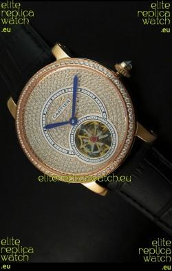 Ronde De Cartier Tourbillon Replica Watch Pink Gold Case - Black Strap