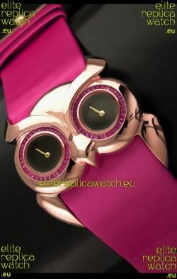 Chopard Animal World Ladies Owl Black Dial Watch in Pink Strap