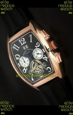 Franck Muller Tourbillon Japanese Replica Watch in Black Dial
