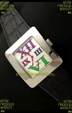 Franck Muller Geneve Infinity Japanese Steel Watch in Multi Color Roman Markers