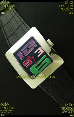 Franck Muller Geneve Infinity Japanese Steel Watch in Multi Color Numeral Markers