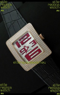 Franck Muller Geneve Infinity Japanese Gold Watch in Red Numeral Markers