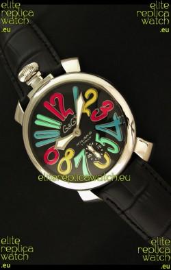 Gaga Milano Italy Japanese Replica Watch in Full Black