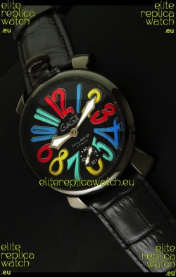 Gaga Milano Italy Japanese Replica PVD Watch in Multi Colour Arabic Markers