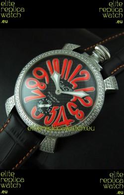 Gaga Milano Italy Manuale Replica Japanese Watch in Orange Markers