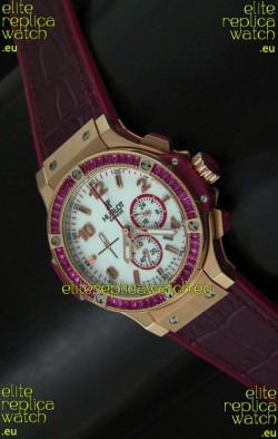 Hublot Big Bang All Black Edition Japanese Quartz Watch in Red Color