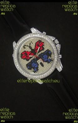 Five Time Zones J&C Clone Watch in Full Diamonds