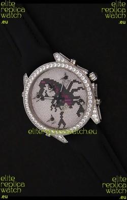 Five Time Zones J&C Clone Japanese Watch in Full Diamonds