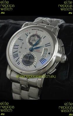 Mont Blanc Meisterstuck Star GMT Swiss Watch in White Dial