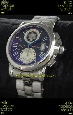 Mont Blanc Meisterstuck Star GMT Swiss Watch in Black Dial