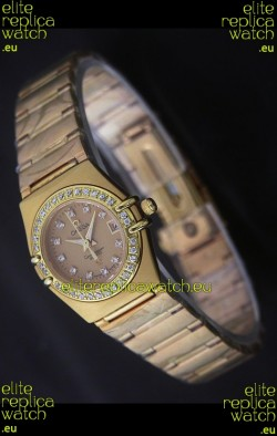 Omega Full Gold Diamonds Constellation Japanese Watch