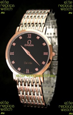 Omega DeVelie Japanese Replica Rose Gold Watch in Black Dial