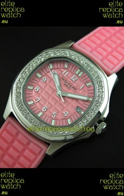 Patek Phillipe Nautilis Swiss Diamond Replica Watch in Pink Dial