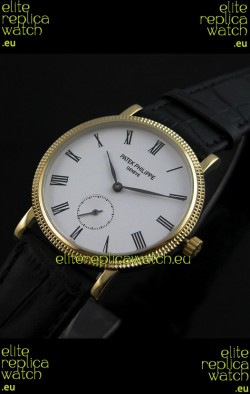 Patek Philippe Calatrava Japanese Mens Watch in Yellow Gold Case