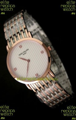 Patek Philippe Geneve Men Japanese Rose Gold Watch in Diamond Hour Markers