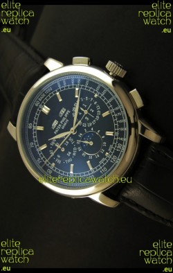 Patek Philippe Complications Japanese Replica Watch in Black Dial