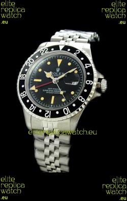 Rolex GMT Master Swiss Replica Steel Watch in Black Bezel