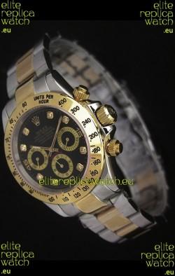 Rolex Daytona Japanese Replica Two Tone Gold Watch in Black Dial