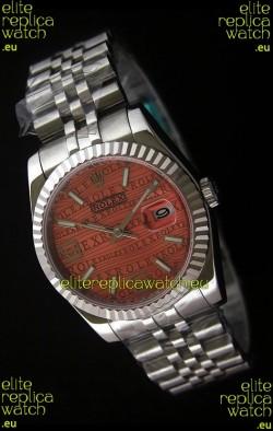 Rolex Datejust Mens Swiss Replica Watch in Orange Dial