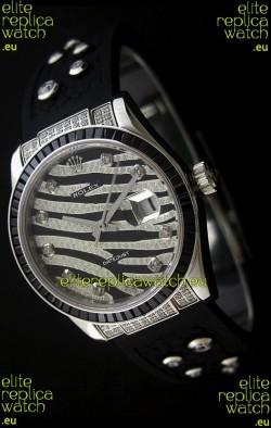 Rolex Datejust Mens JapaneseReplica Leopard Watch in Diamand Markers