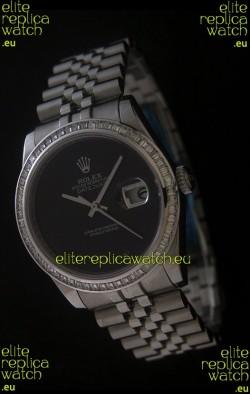 Rolex Datejust Japanese Replica Watch in Full Black Dial