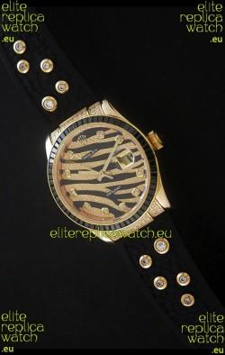 RolexDateJust Rose Gold Diamond Japanese Replica Watch