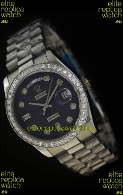 Rolex Day Date Just Japanese Replica Watch in Printed Purple Dial