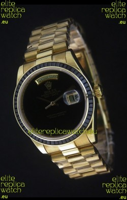 Rolex Day Date Just Japanese Replica Yellow Gold Watch in Black Dial