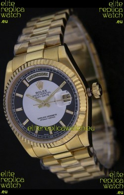 Rolex Day Date Just swiss Replica Yellow Gold Watch in Black & White Dial