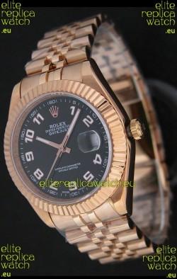 Rolex Datejust Japanese Replica Rose Gold Watch in Black Dial