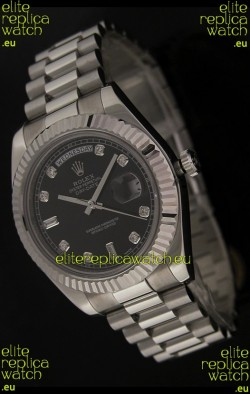 Rolex Oyster Perpetual Day Date Swiss Replica Watch in Black Dial