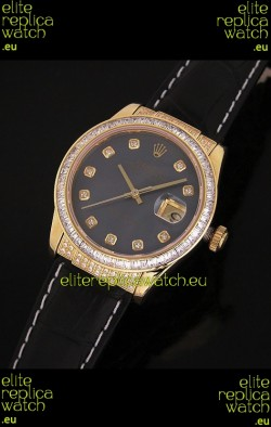 Rolex DateJust Japanese Mens Replica Yellow Gold Watch in Black Mother of Pearl Dial