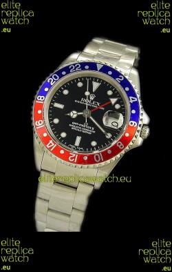 Rolex GMT Master II Swiss Replica Steel Watch in Red and Blue Bezel