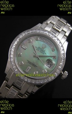 Rolex Oyster Perpetual Day Date Swiss Replica Watch in Green Mother of Pearl Dial